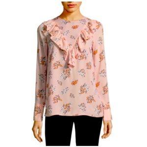Worthington Long Sleeve Georgette Floral Blouse